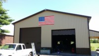 american flag on corrugated alumnium pull barn