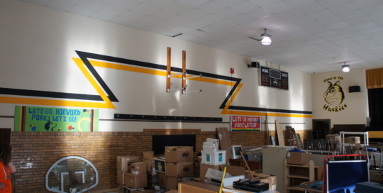 Final Gym Stripes and Mascot Painting