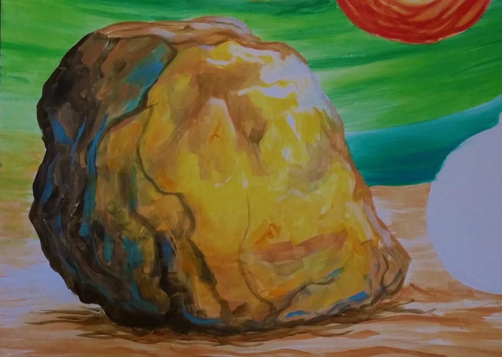 Rock detail on photo board for amusement park