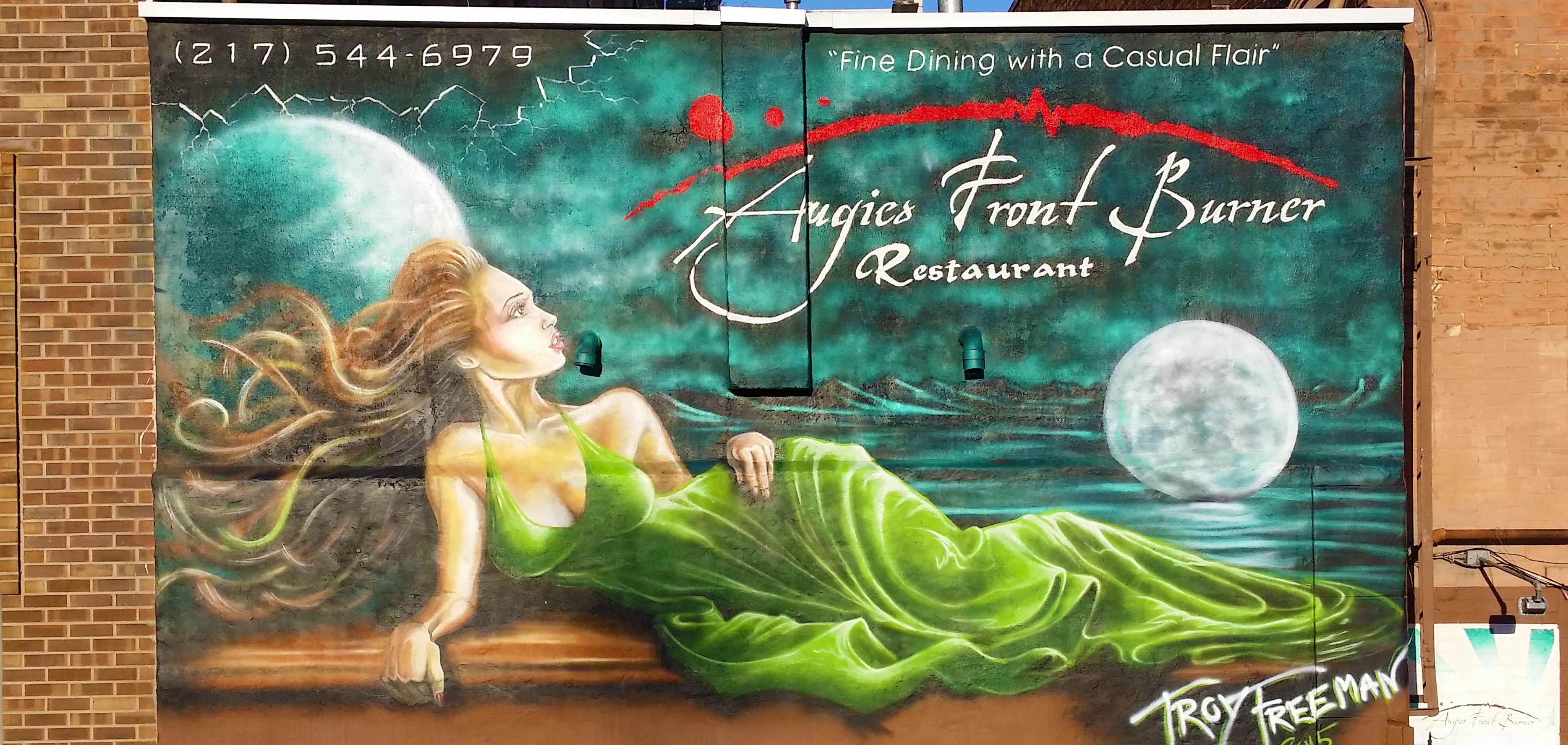 Green dress goddess mural painting