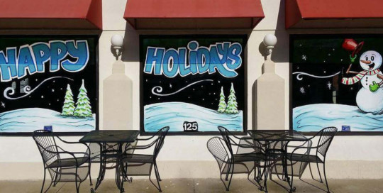 happy holidays window painting taco gringo springfield illinois