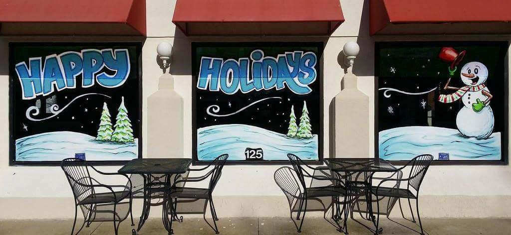 happy holidays window painting taco gringo springfield illinois