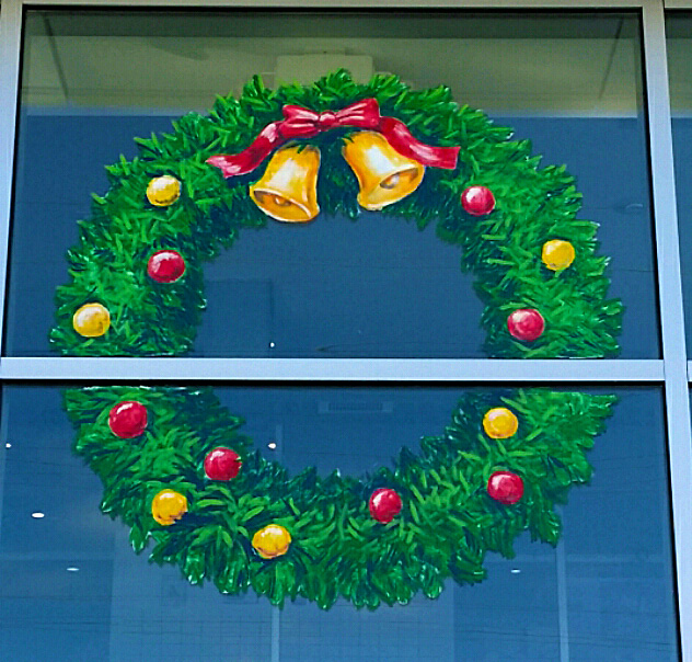 holiday wreath window painting springfield illinois