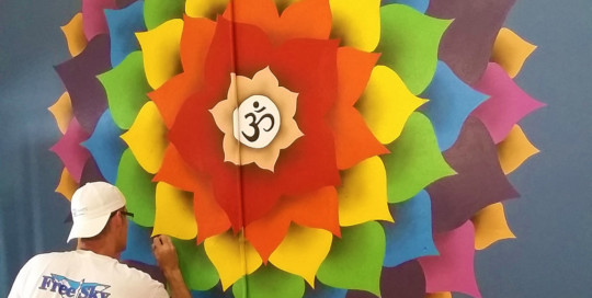lotus mural painting