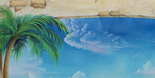 tropical beach mural painting