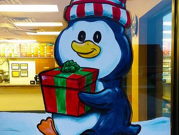 penguin window painting springfield illinois