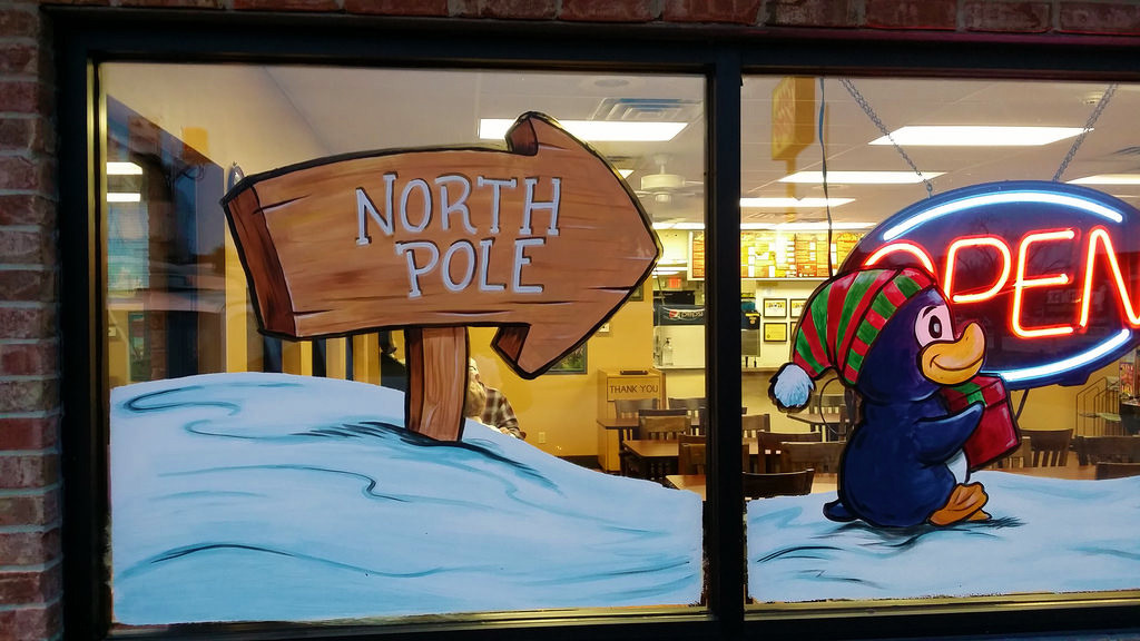 window painting NorthPoleSign