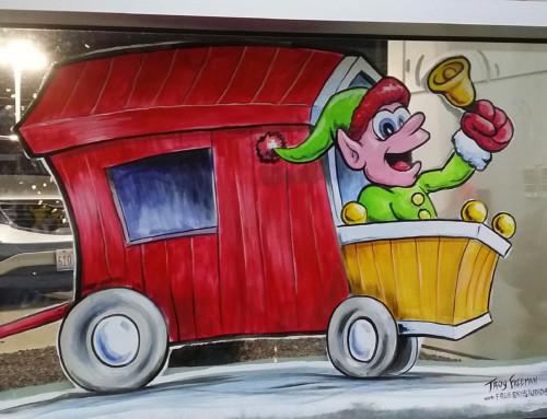 Santa Train Window Painting – Green Auto Group