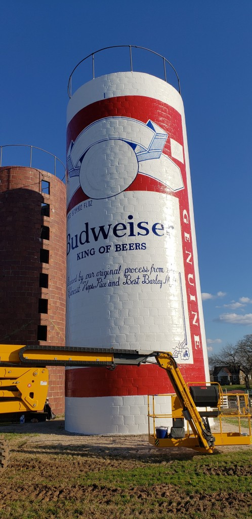 budweiser can silo mural painting