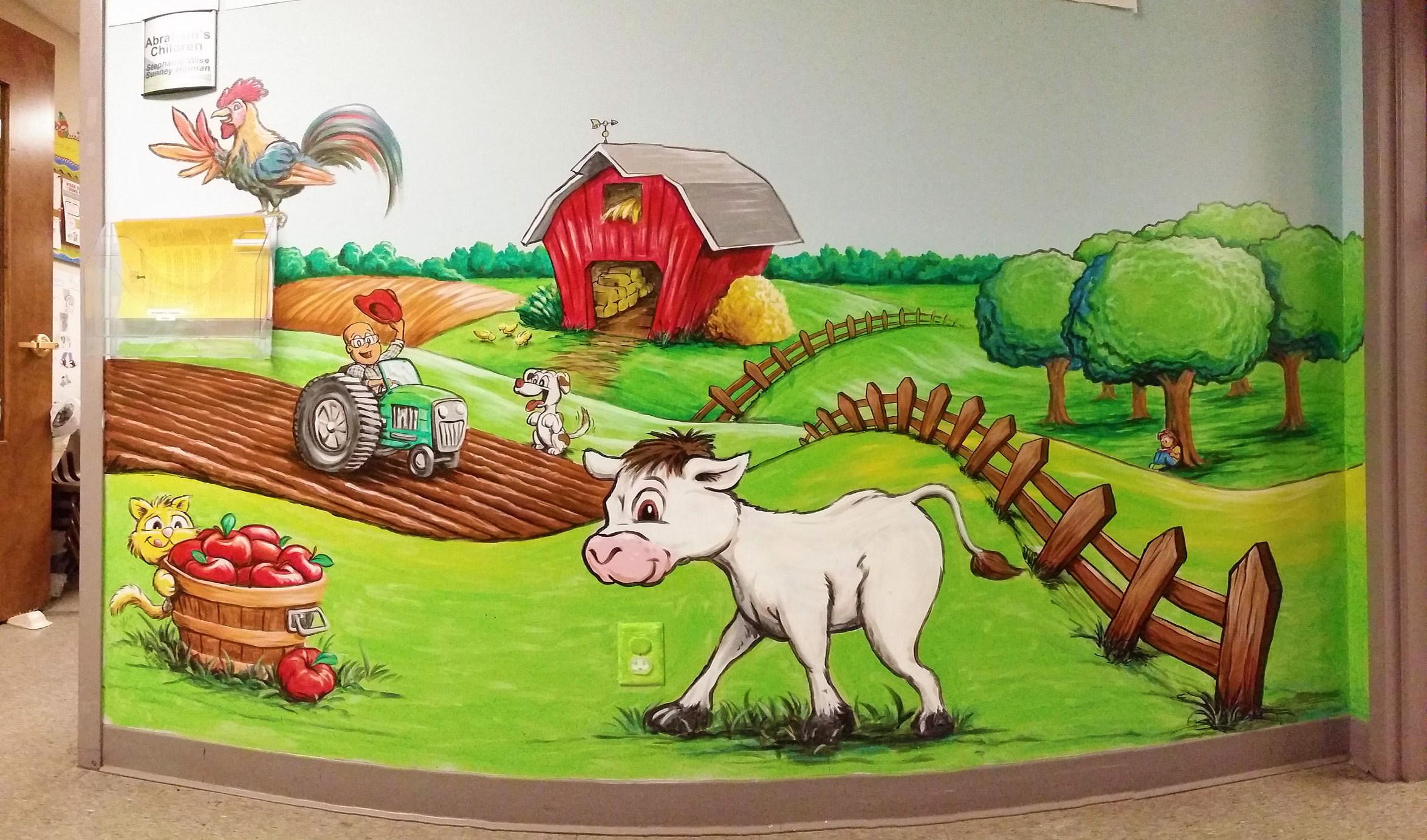 Farm landscape mural painting