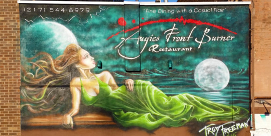 Green dress goddess mural painting