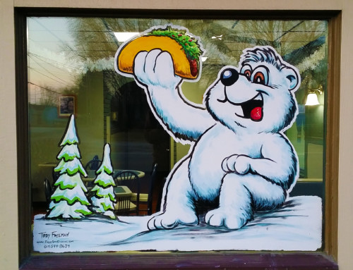 Winter Window Painting – Taco Gringo (North Grande)
