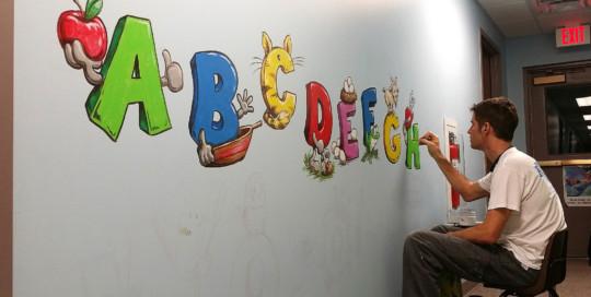 aplhabet mural painting troy freeman