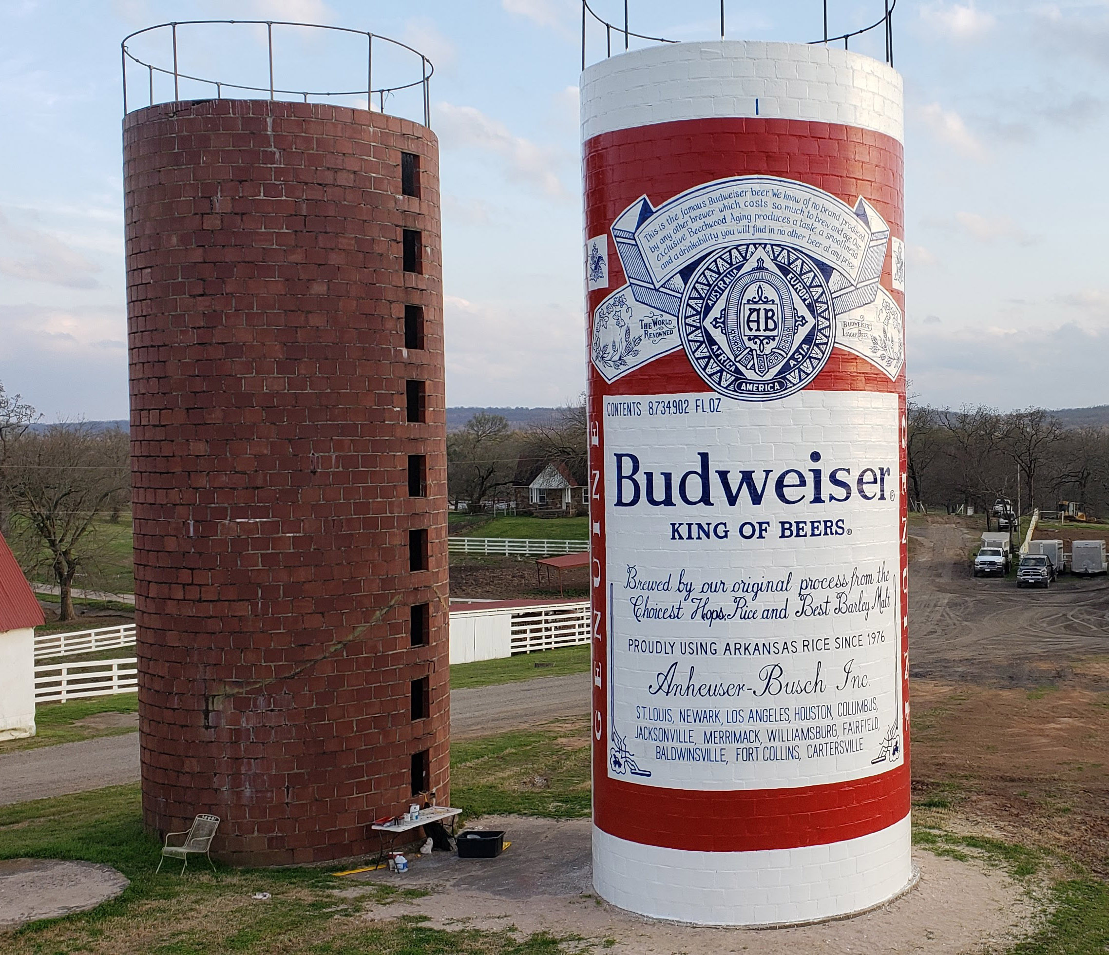 Budweiser silo sign painting fort smith arkansas