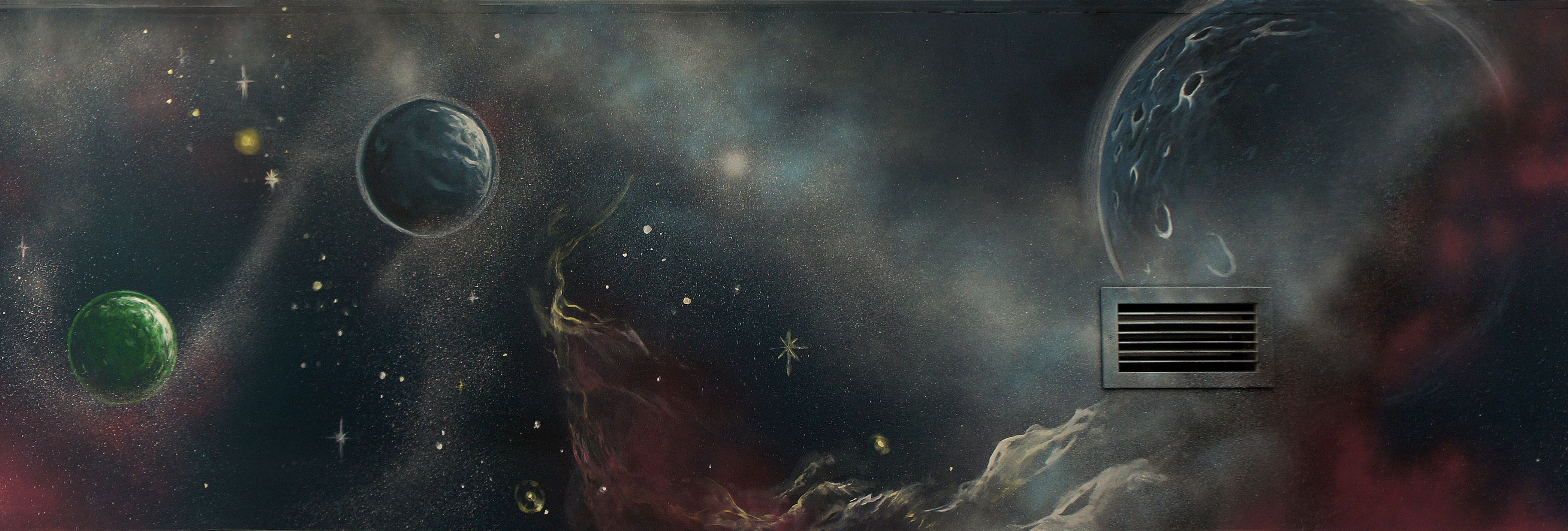 outer space mural painting