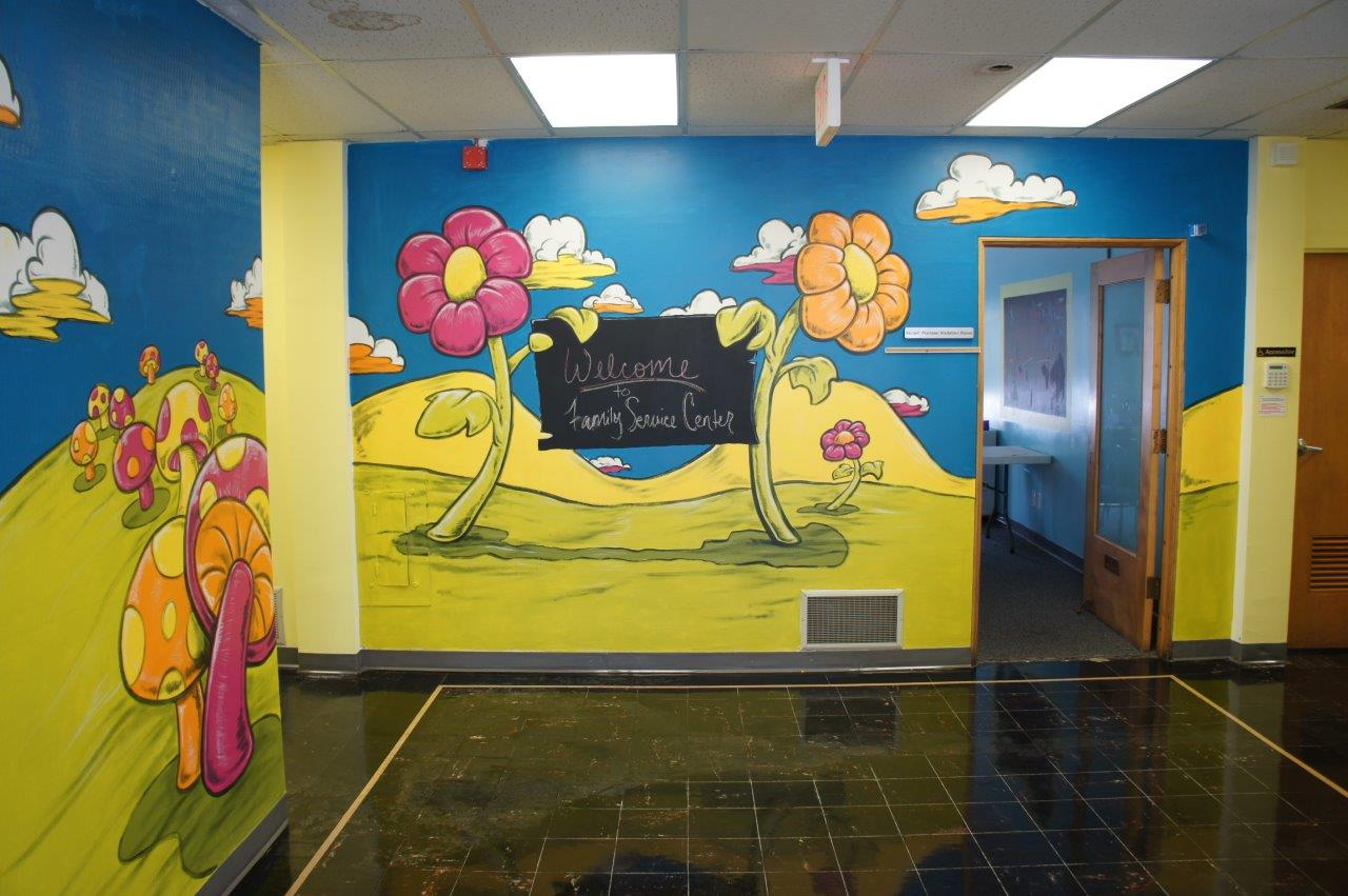 family service center lobby mural painting