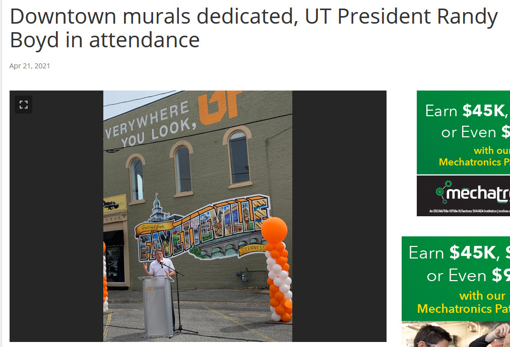 """University of Tennessee System President Randy Boyd made welcoming remarks at last Friday's """"Everywhere You Look, UT"""" mural celebration. """"Bringing the opportunity of affordable access to higher education in lower-middle Tennessee has been our goal during much of the past year,"""" said Boyd, adding that the mural is a reminder of UT's impact in Lincoln County."""
