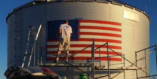 american flag painting on grain bin
