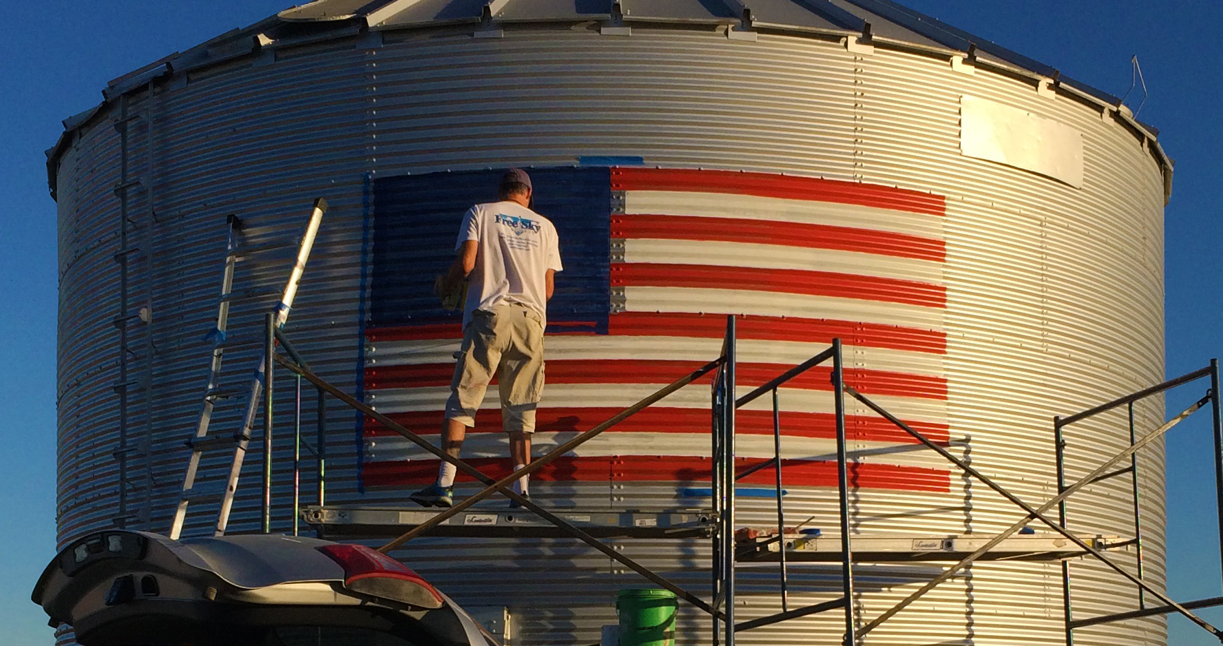american flag painting on grain bin