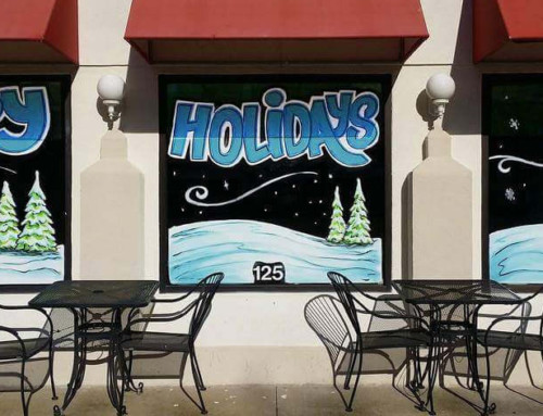 Happy Holidays Window Painting – Taco Gringo (South Grande)