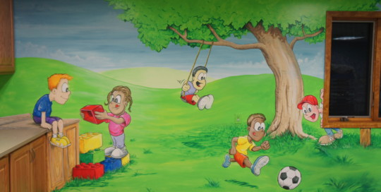 playroom landscape mural painting