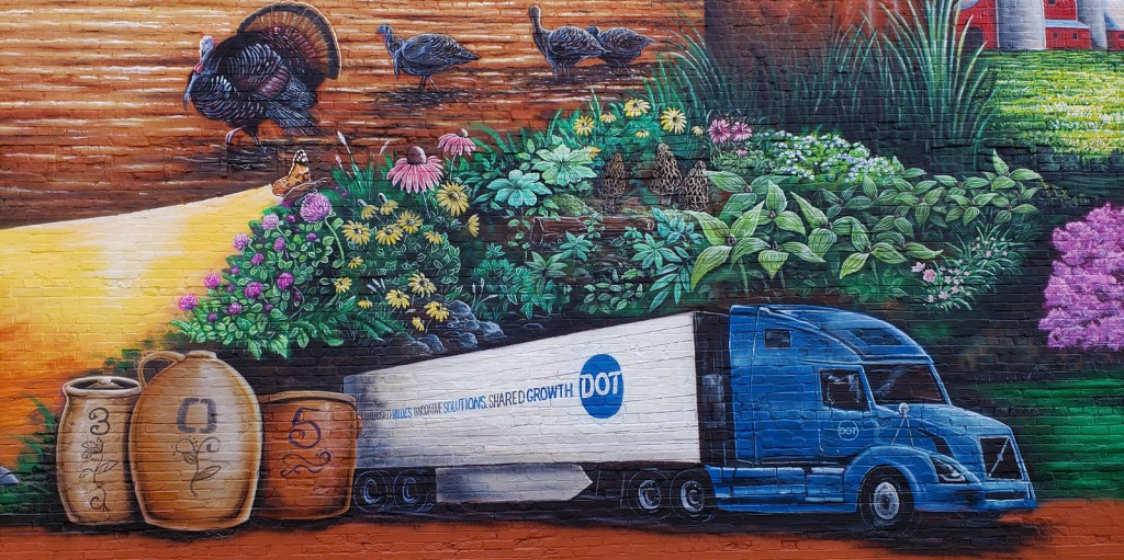 brown county DOT food truck and pottery mural painting