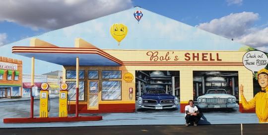 retro garage gas station mural painting freesky studios