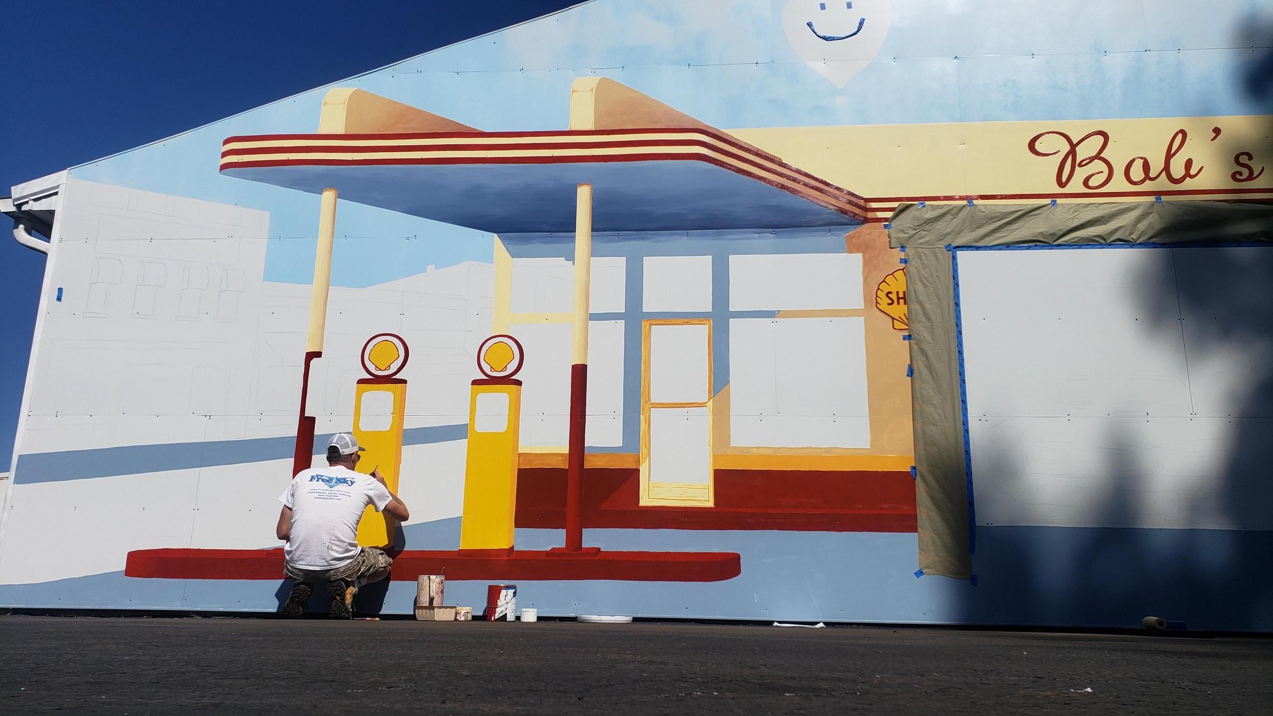 retro gas station mural painting troy freeman