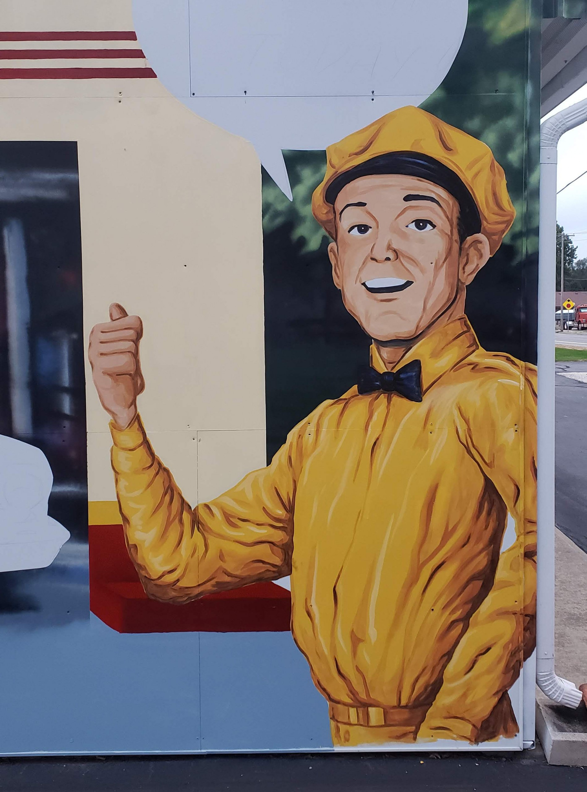 retro gas station worker mural painting