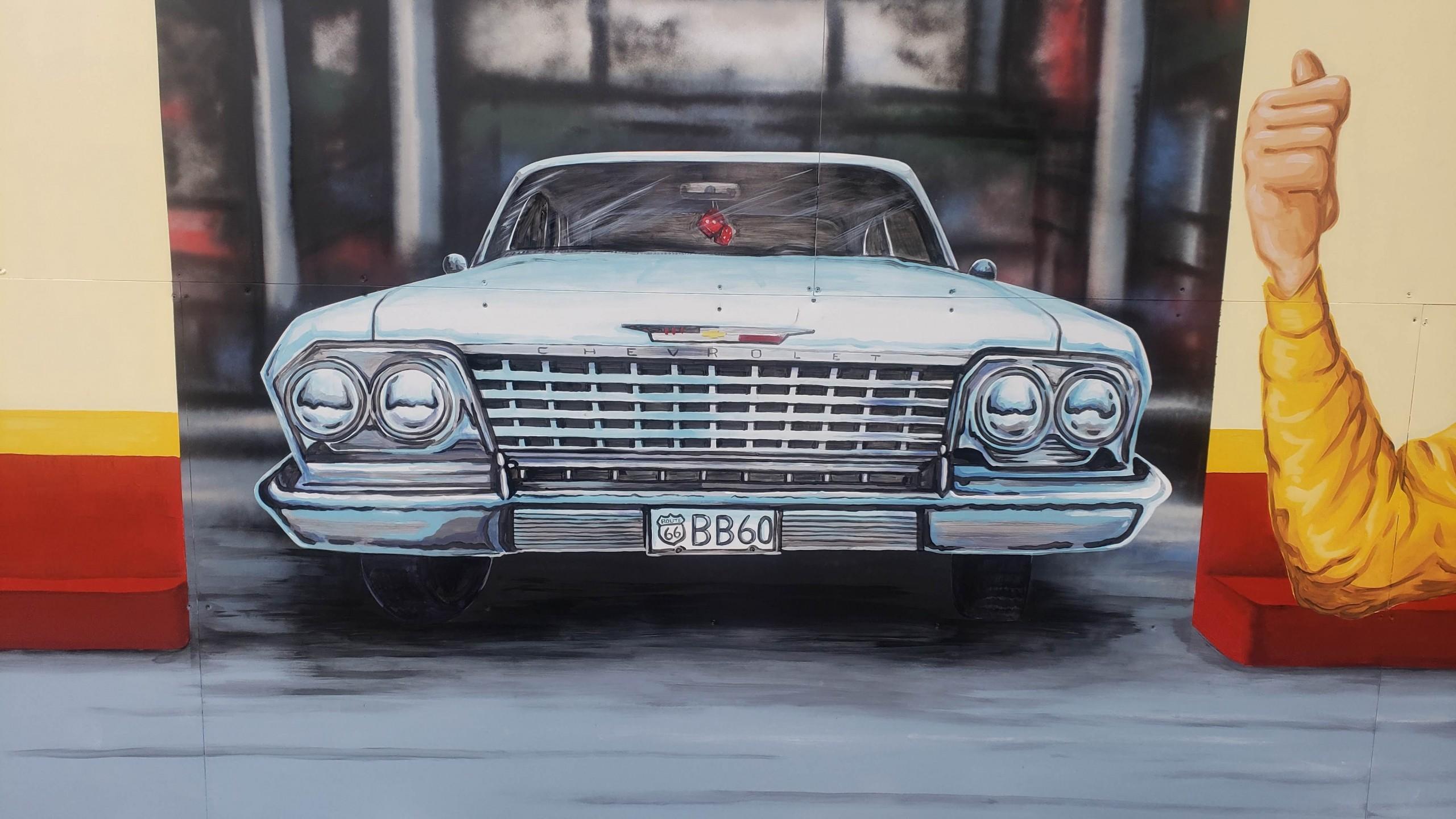 white caddilac retro mural painting