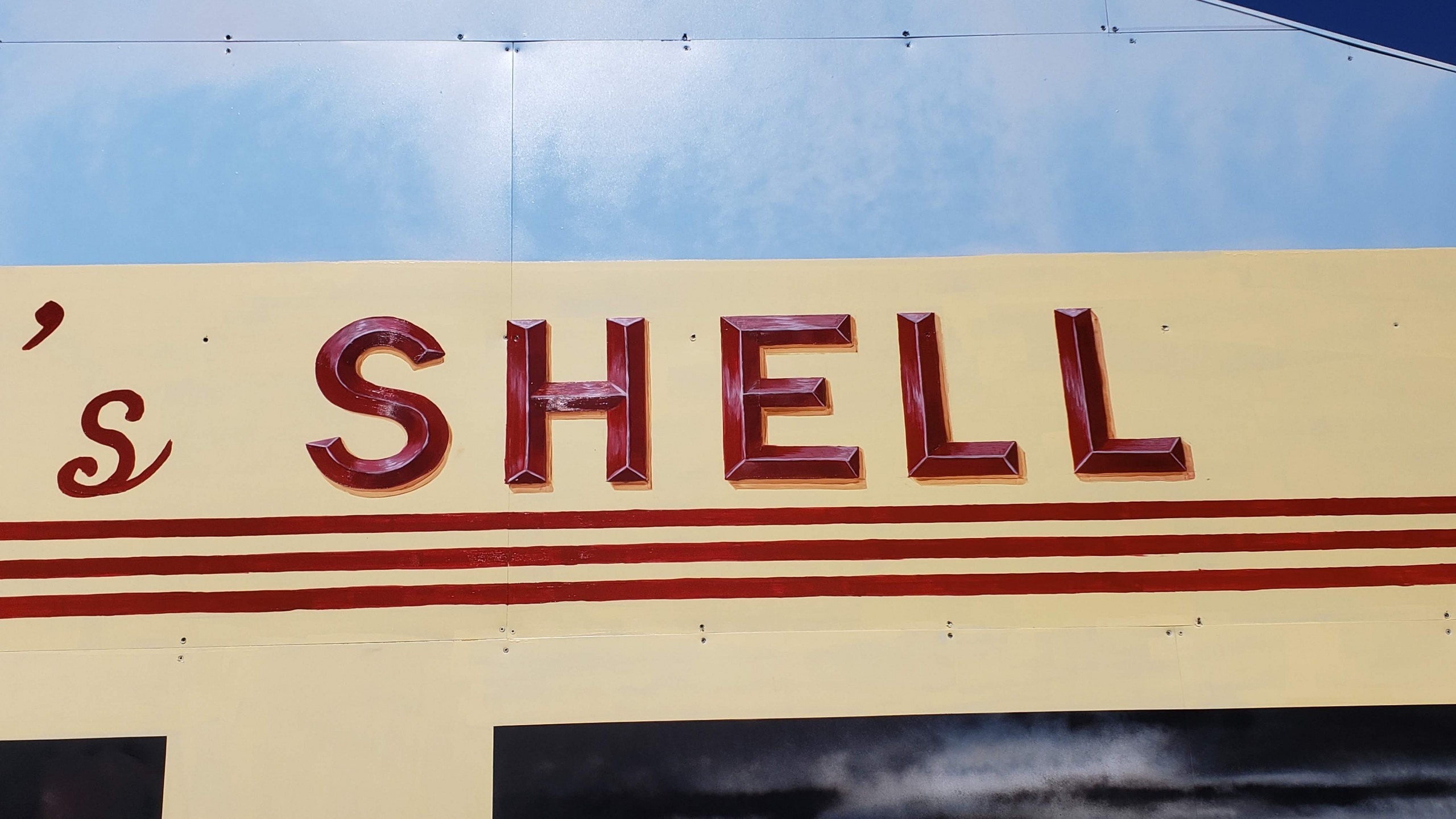 shell station mural painting letters