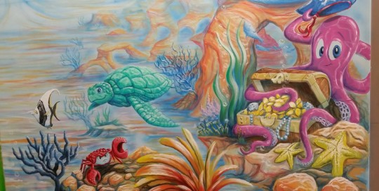 shallow sea daycare mural painting