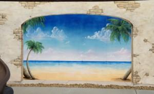 trompe loeil archway mural painting